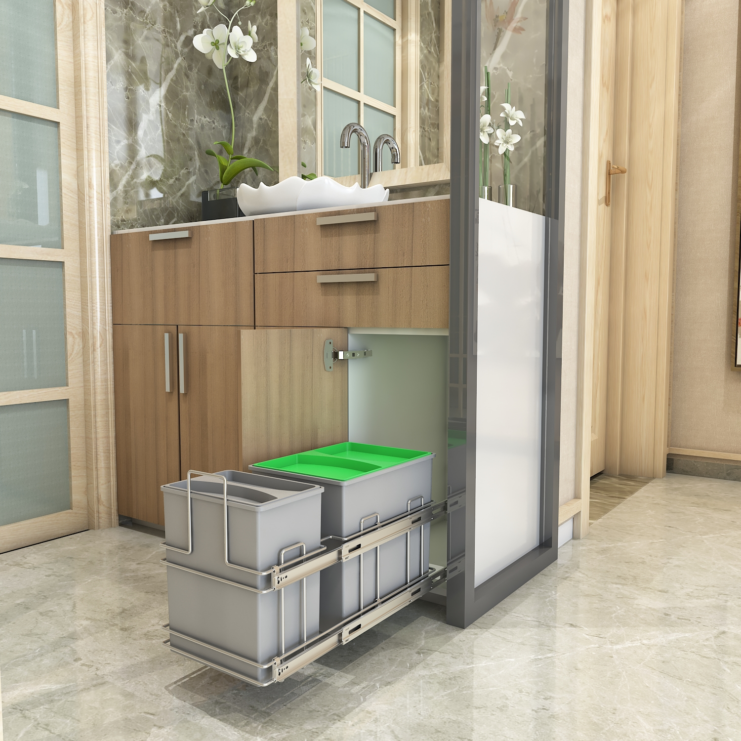 Cargo Pull-Out Bin Holder- for cabinet width 300 mm